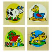 3 részes kirakó fa puzzle (boci, kacsa, ház, cica) 0127 (FA)