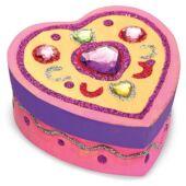 Fa ékszerdoboz készítő, díszítő kreatív játék lányoknak, szív alakú - Melissa Doug 13094 (ME)