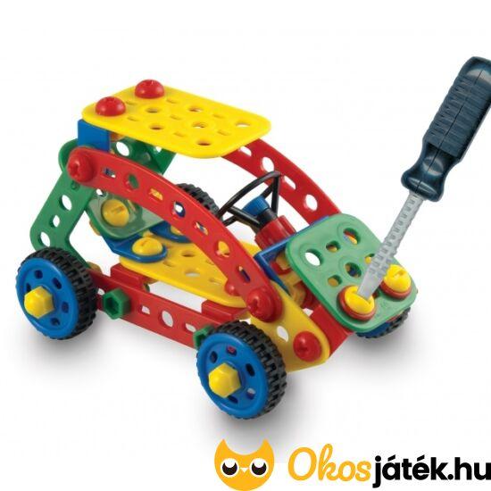 Quercetti Tecno Toolbox - csavaros építő játék csavarhúzóval, ládában, autós 6140 (KW)