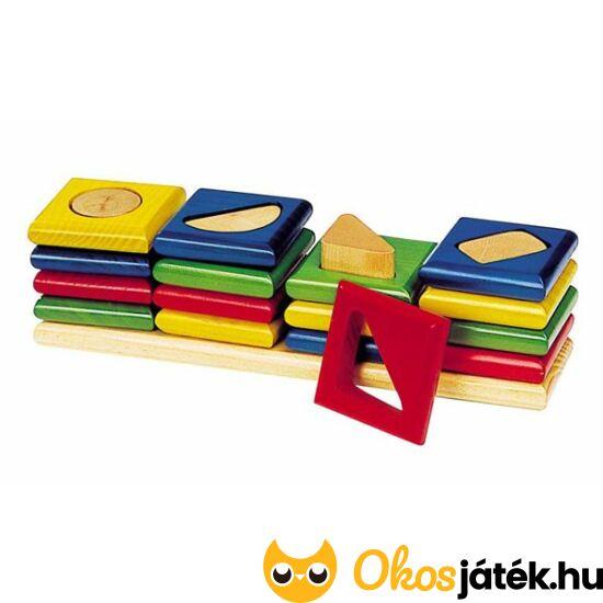 Goki minőségi fa montessori torony játék - formák - WM034 (HO)