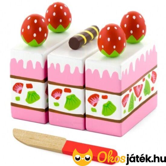 Szeletelhető epres játék sütemény fából - FA 51324 (FA)