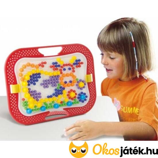 Quercetti pötyijáték, tüskejáték különböző méretű elemekkel - Fanta Color Design 0900 (KW)