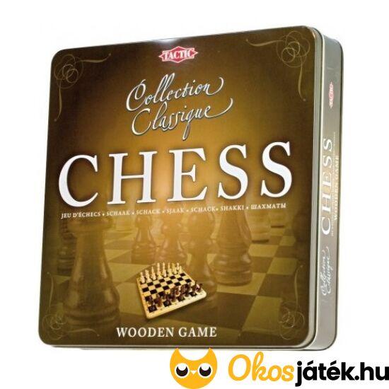 Klasszikus sakk játék fából, fém dobozban (Tactic) - YO